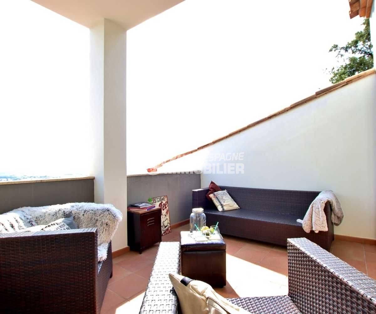 achat rosas espagne: villa 241 m², terrasse de la suite parentale avec vue mer