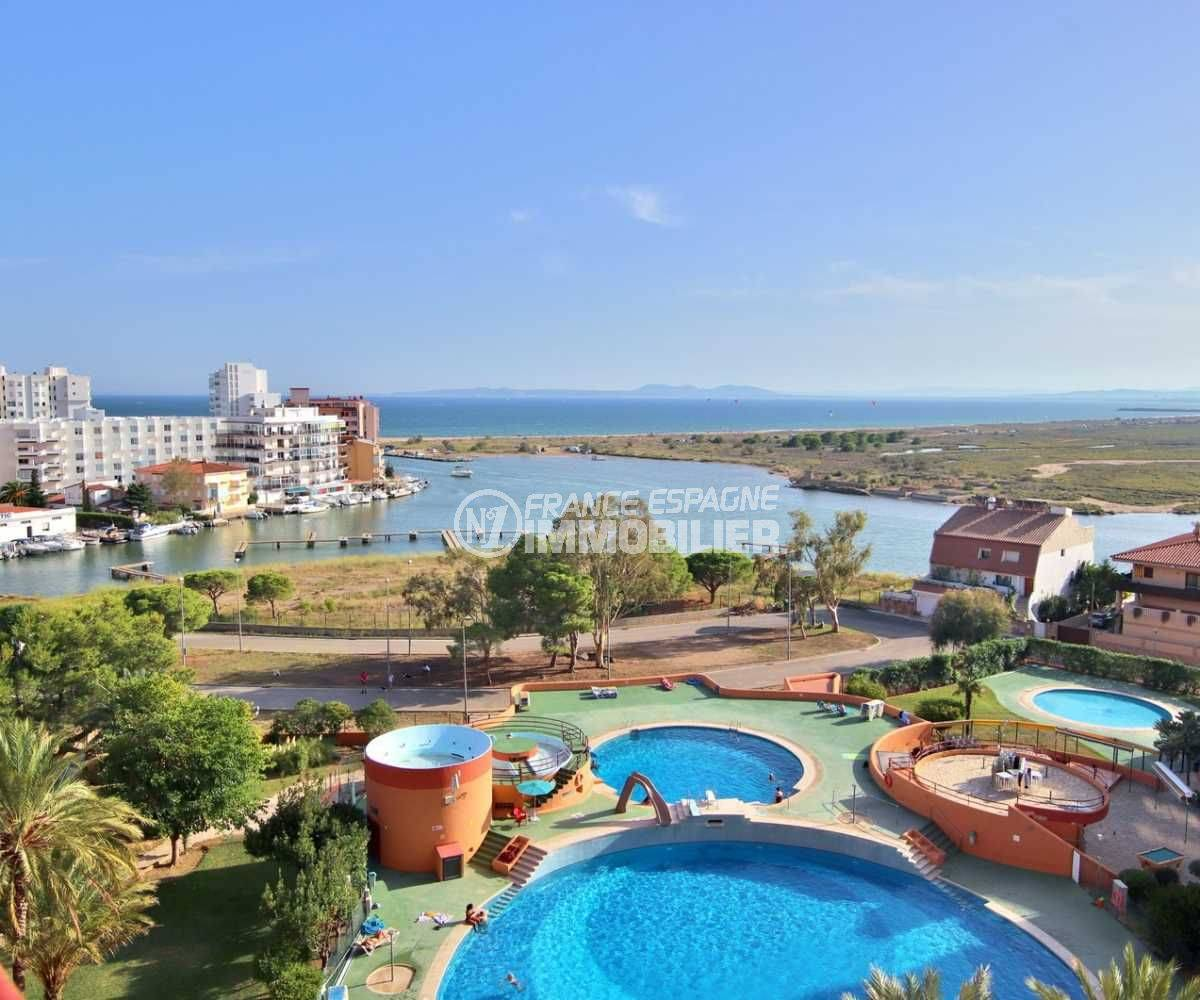 immobilier costa brava: studio ref.3781, vue mer avec piscine dans la résidence