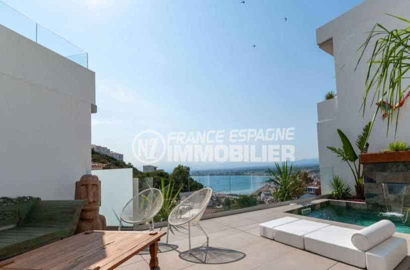 maison a vendre rosas, ref.3803, terrasse avec piscine et vue mer