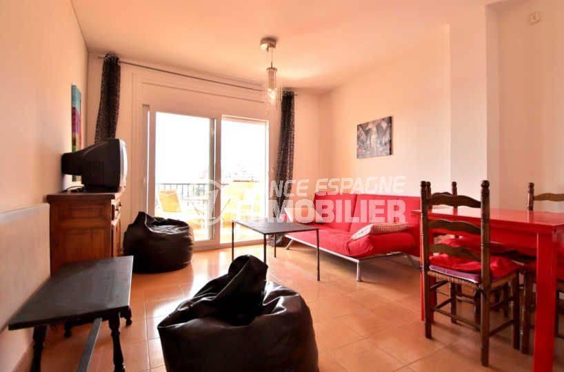 appartement a vendre a rosas, ref.3804, salon / salle à manger avec accès à la terrasse