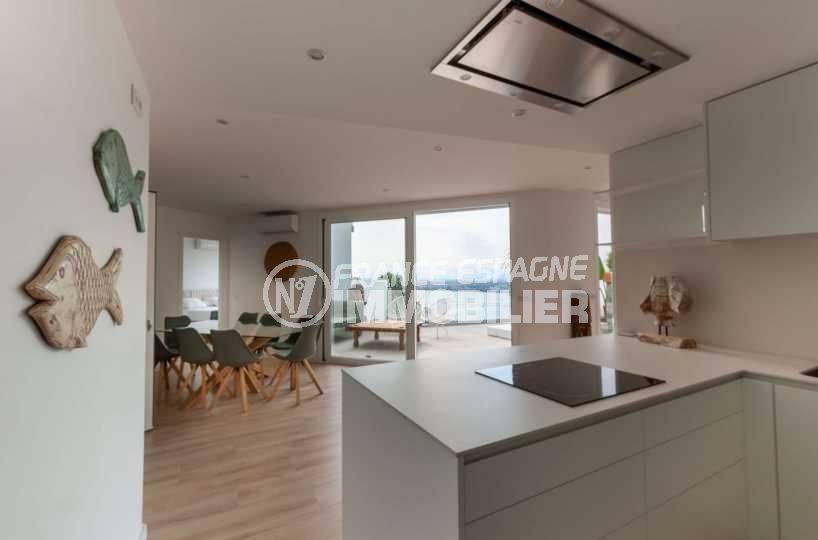 vente immobilier rosas espagne: villa ref.3803, vue salle à manger depuis la cuisine américaine