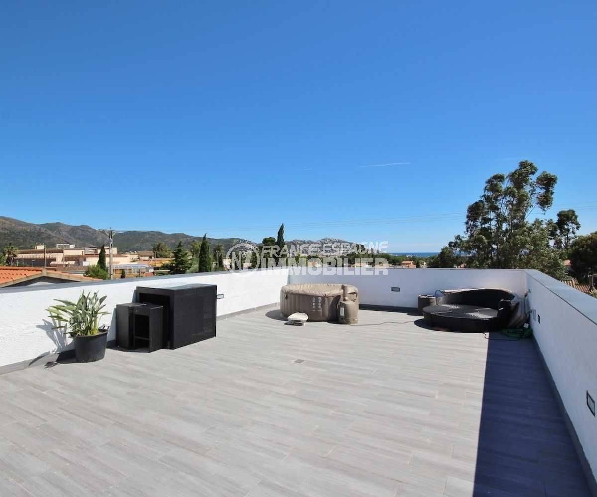 ventes immobilieres rosas espagne: villa ref.3463,  la terrasse solrium avec vue mer