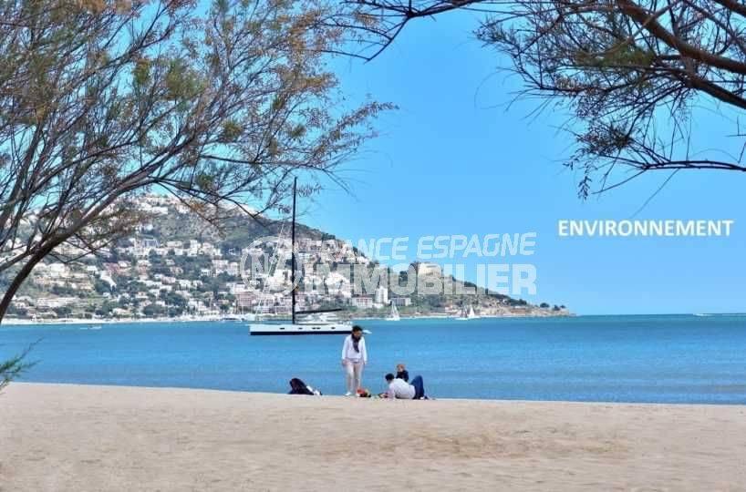 appartements a vendre costa brava, ref.3797, plage et aperçu Puig Rom au fond