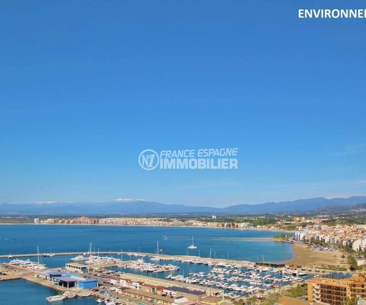 achat roses espagne: villa ref.3803, vue du port et de la baie aux alentours
