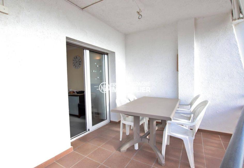 vente appartement rosas, ref.3839, terrasse de 10 m², coin repas, vue mer