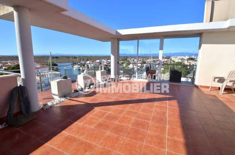 appartement a vendre rosas, ref.3812, seconde terrasse vue sur marina et montagnes
