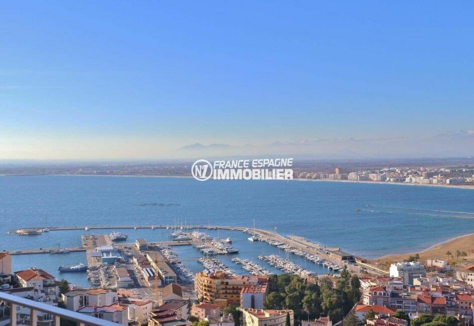 immo center rosas: villa 414 m², vue imprenable sur le port de plaisance de roses depuis la terrasse
