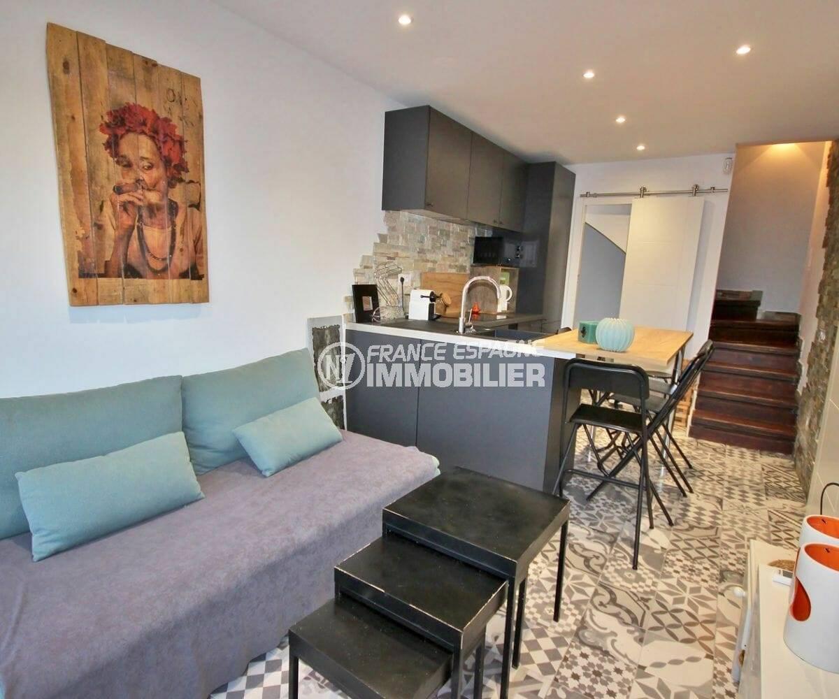 roses espagne: villa petite vue mer, salon / séjour avec cuisine ouverte