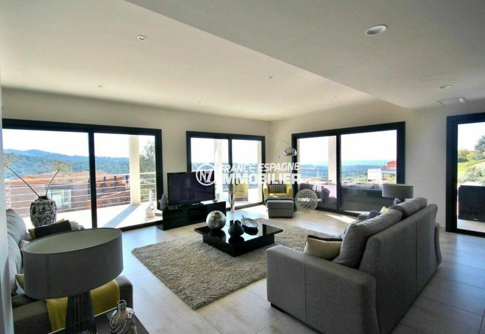 vente immobiliere rosas espagne: villa standing construction nouvelle, séjour avec vue magnifique