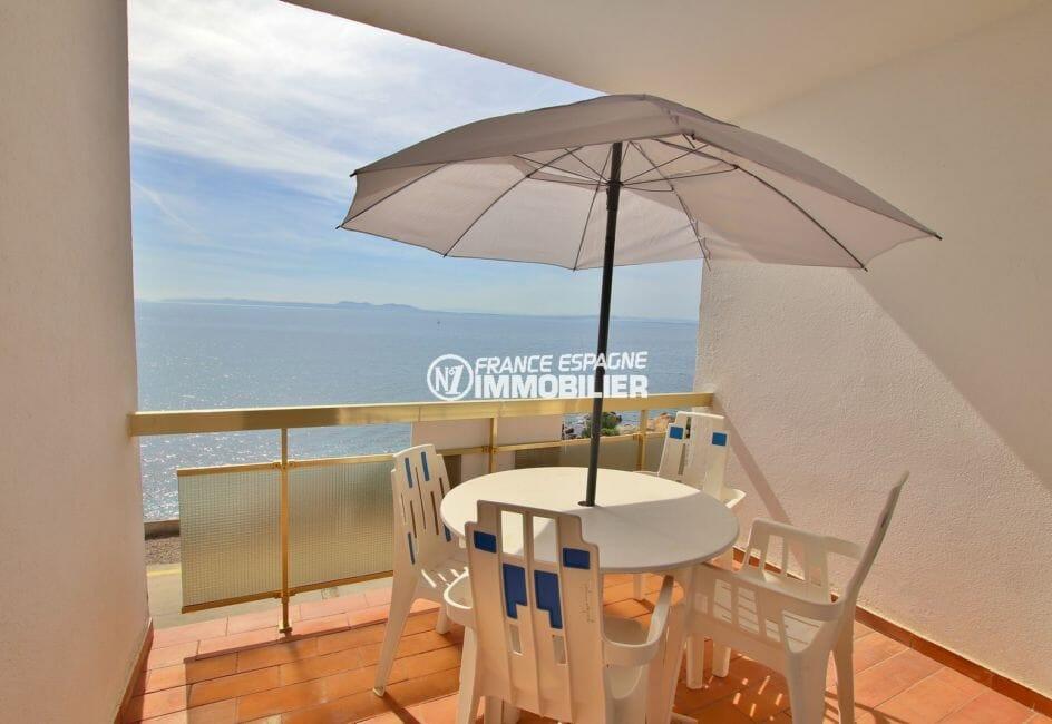appartement à vendre à rosas, 39 m², terrasse avec coin détente, front de mer