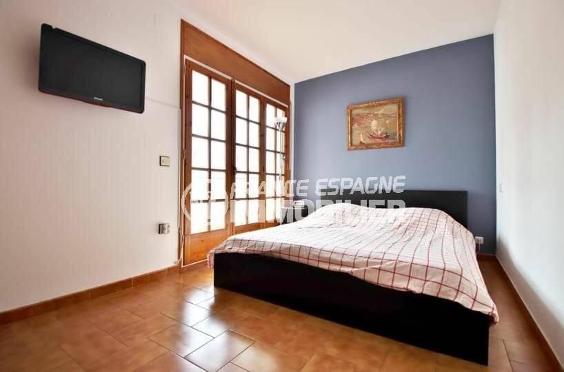 vente immobilier rosas espagne: appartement atico, chambre 1,  lit double accès véranda