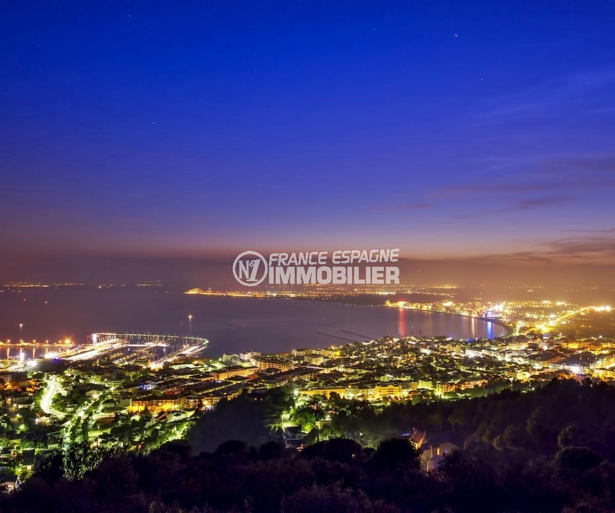 vue sublime de roses et de son port de plaisance tous illuminés dans la nuit