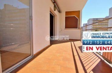 appartement a vendre rosas, plage 100 m, terrasse avec vue mer frontale