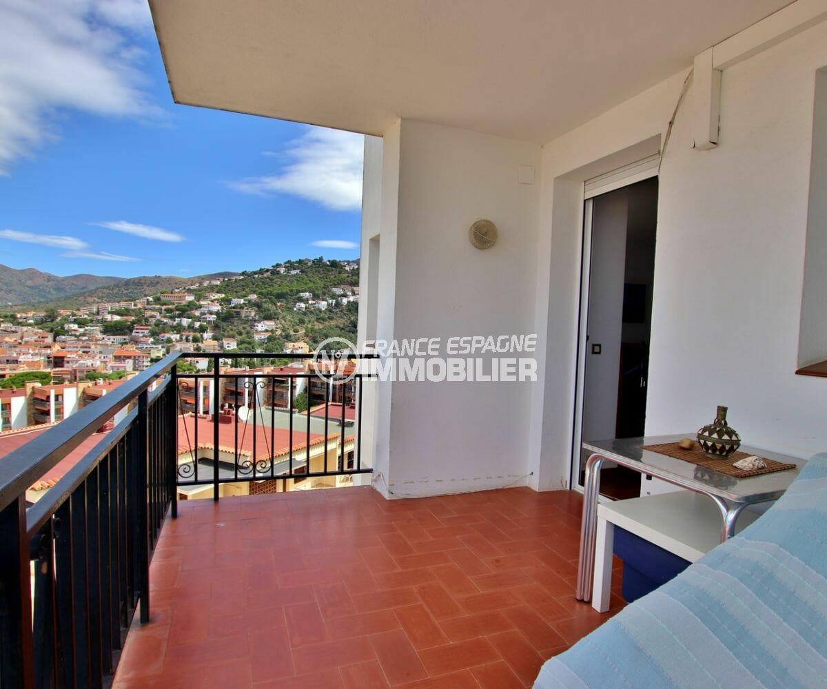 vente appartement rosas, parking, magnifique vue mer et montagnes depuis la terrasse
