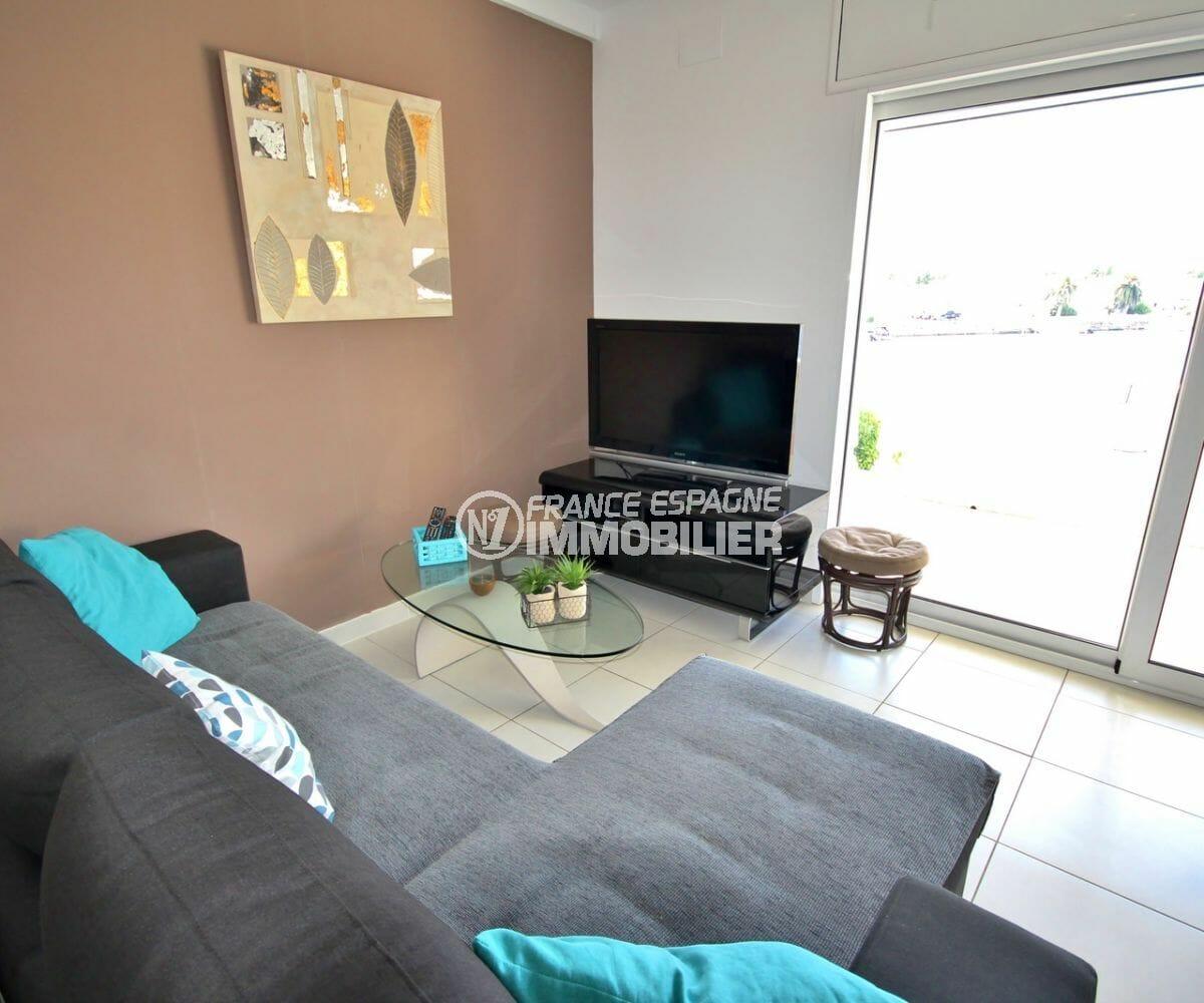 vente appartement empuriabrava, parking, salon / séjour lumineux accès terrasse vue lac