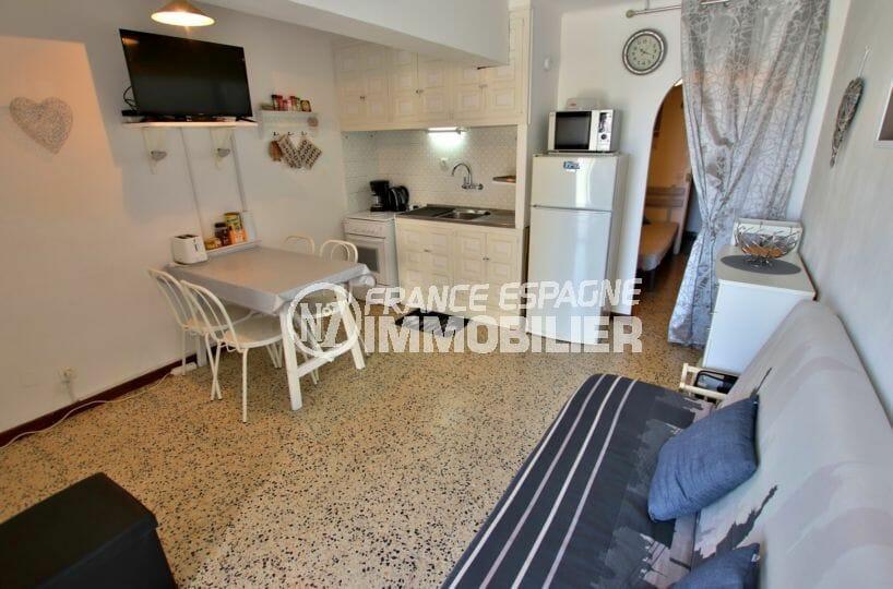 immobilier empuria brava: appartement 33 m², salon / séjour avec coin cuisine aménagée