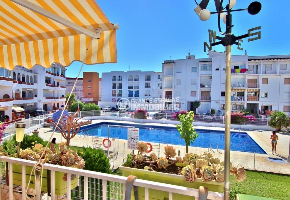 achat appartement empuriabrava: 47 m², terrasse avec vue sur la piscine