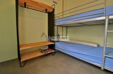 appartement rosas achat, atico 49 m², deuxième chambre avec lits superposés