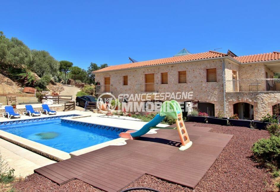 maison a vendre rosas, garage, grand terrain de 3285 m² avec belle piscine 9 m x 4 m
