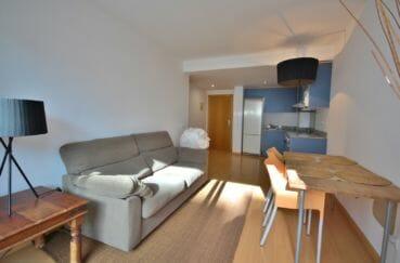 immo roses: appartement 45 m², salon / séjour avec cuisine ouverte