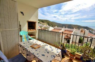 appartement à vendre à rosas, parking, terrasse avec barbecue, vue mer et montagnes