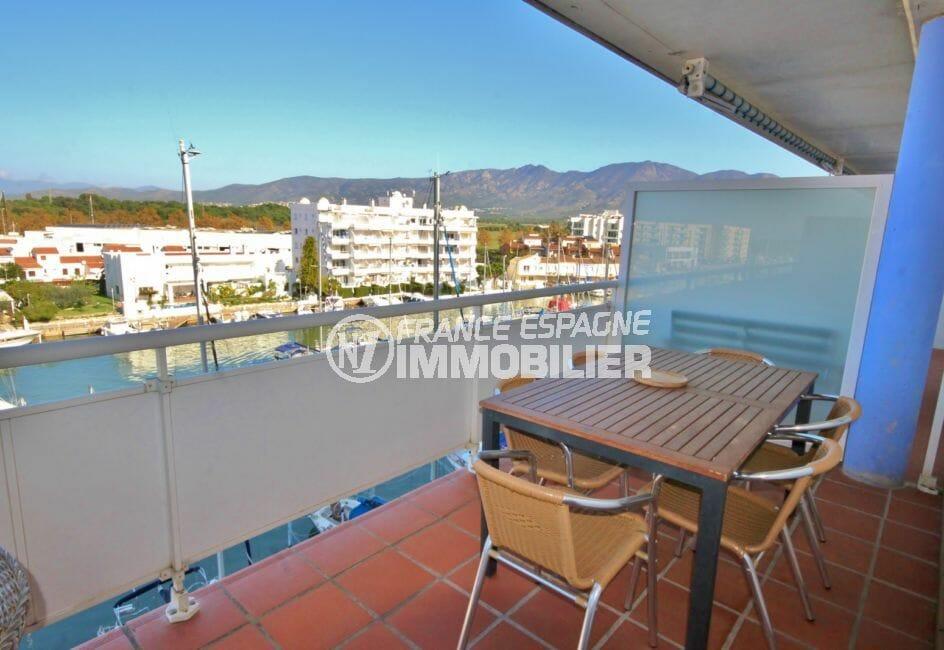 vente appartement rosas, atico belle vue marina terrasse solarium, parking et piscine
