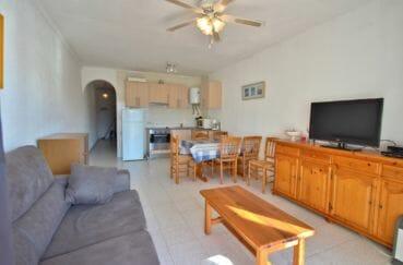 acheter appartement empuriabrava, vue canal, salon / séjour avec cuisine ouverte