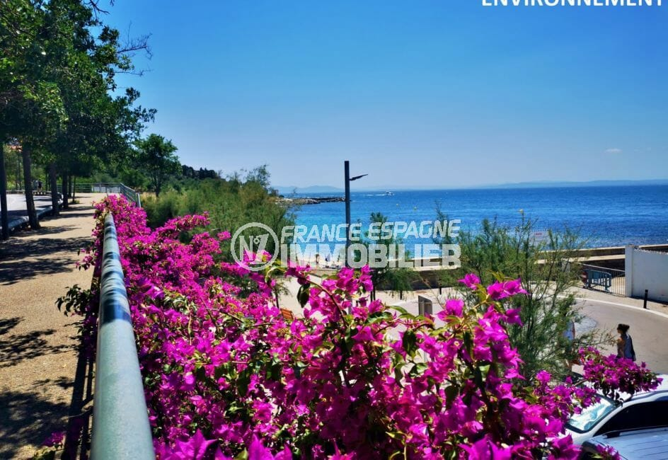 jolie plage fleurie dans les environs de rosas