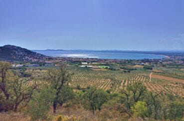 magnifique paysage entre les champs agricoles, vignoles et la mer à proximité
