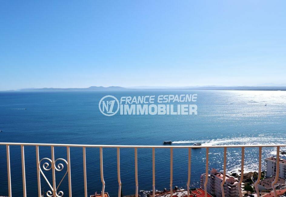 immo roses: appartement 67 m², sublime vue de la mer à 180 ° depuis la terrasse