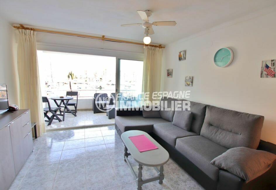 vente appartement empuriabrava, 46 m² vue canal, séjour entièrement meublé
