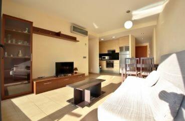 immo roses: appartement 63 m², salon / séjour avec cuisine ouverte équipée