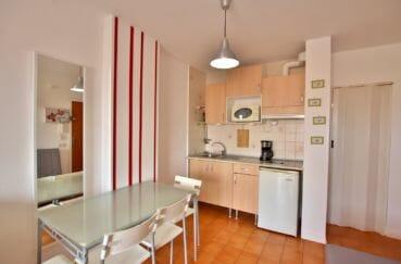 la costa brava: studio 26 m², coin cuisine aménagée avec hotte et plaques