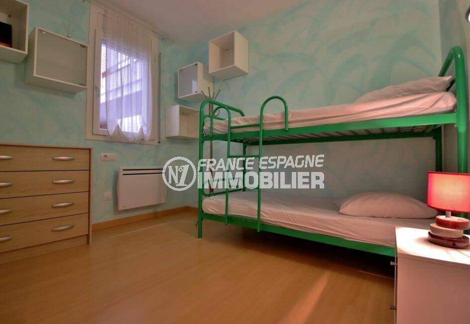 vente appartement rosas espagne, 3° chambre à coucher avec lit superposé