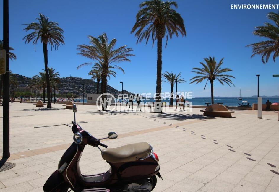 la rambla de roses, la plage, les palmiers, les commerces et ses restaurants