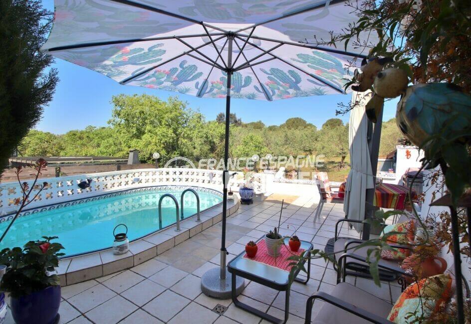 immo roses: villa 3 pièces 92 m², piscine 5m80 x 3m20, profondeur 1,30 m