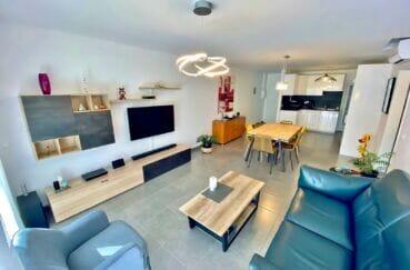 vente appartement empuriabrava, 3 pièces 86 m², salon, salle à manger avec cuisine américaine