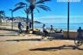 promenade à pied ou en vélo le long de la plage ensoleillée de roses