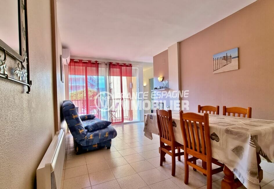 vente appartement rosas, 3 pièces 60 m², salon/séjour avec climatisation