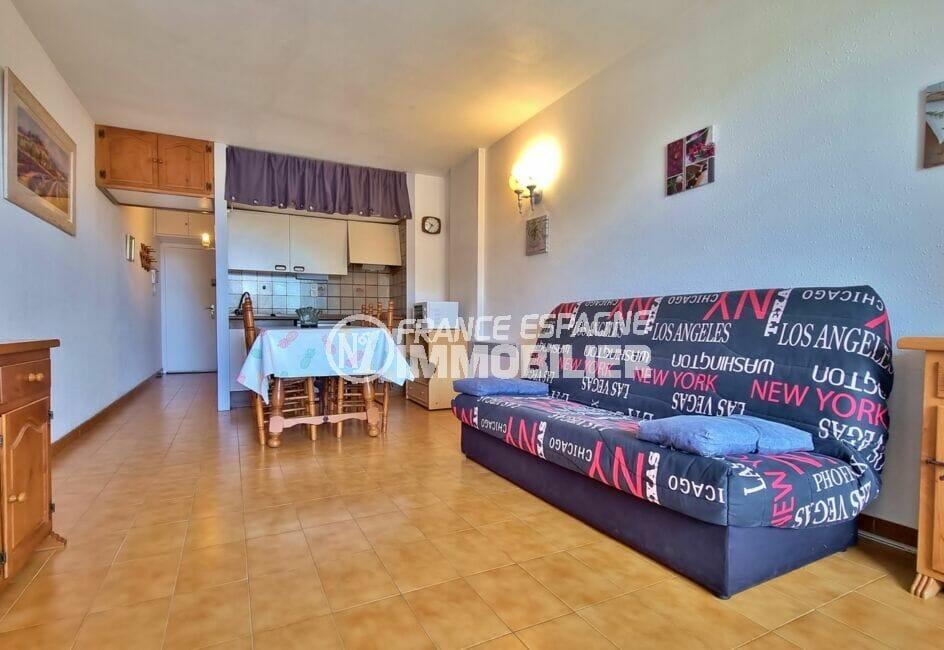 achat appartement rosas, 2 pièces 43 m², salon/séjour avec coin cuisine