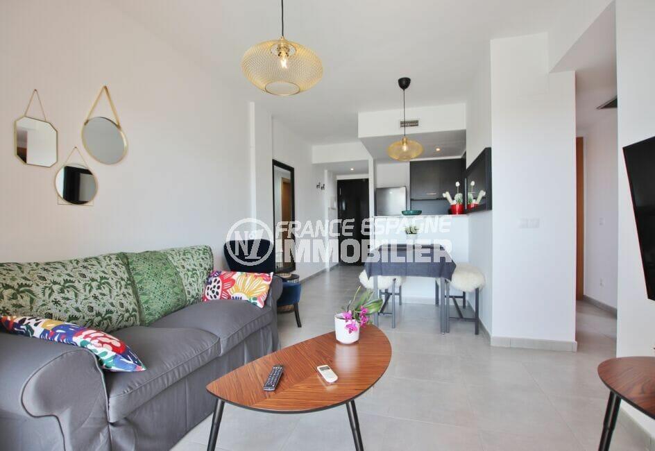 appartement a vendre rosas, 3 pièces 64 m², cuisine ouverte sur le séjour