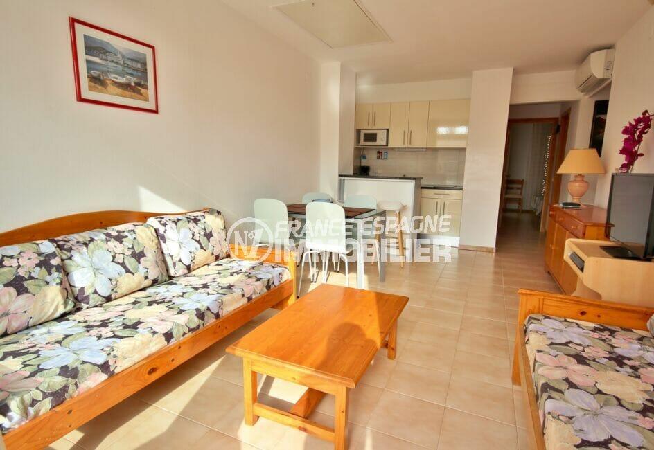 achat appartement costa brava, 3 pièces 57 m², séjour avec son coin cuisine