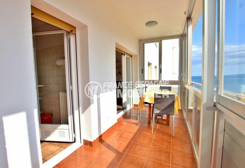 appartement à vendre costa brava vue mer, 2 pièces 55 m² en 1ère ligne de mer, plage et commerces à 20 m