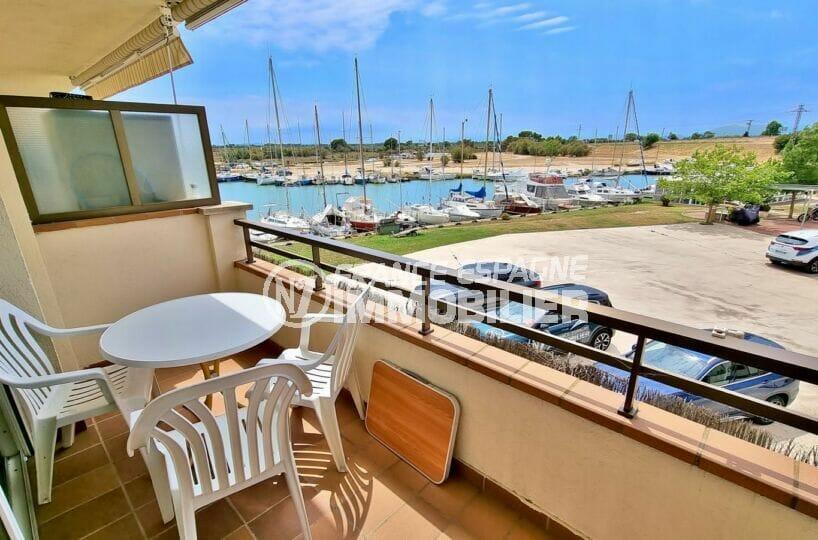 vente appartement rosas, 2 pièces 48 m² avec terrasse vue canal et sur le parc naturel, proche plage