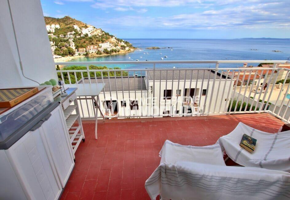 appartement a vendre rosas vue mer, 3 pièces 44 m² terrasse, exposition sud