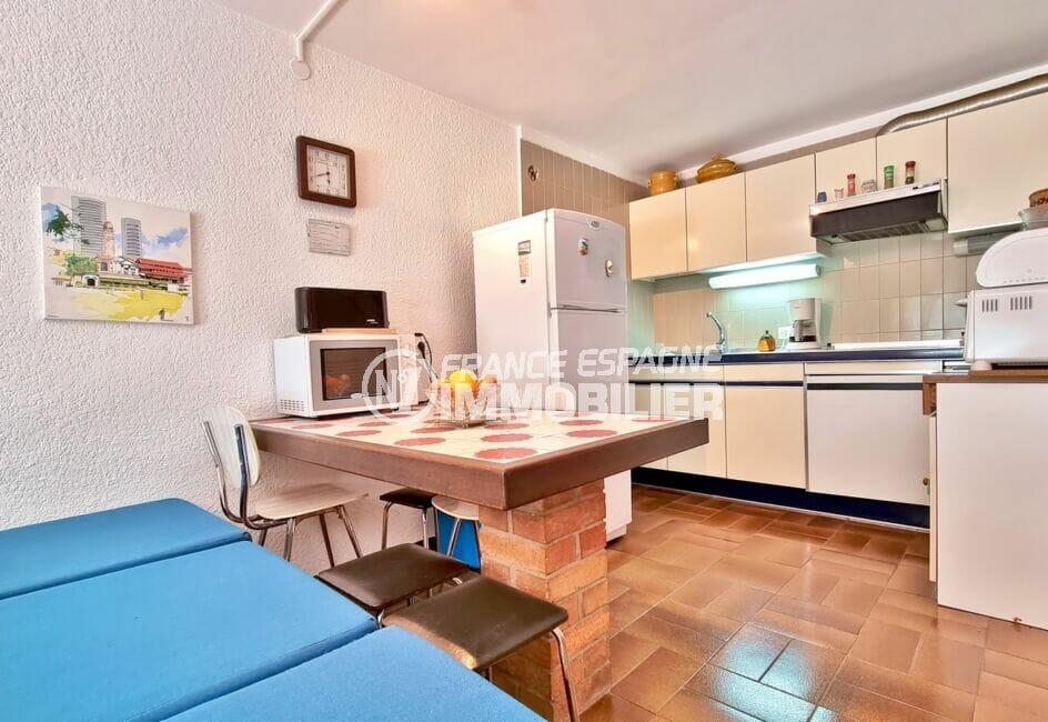 achat appartement santa margarita rosas, 44 m² séjour avec cuisine américaine