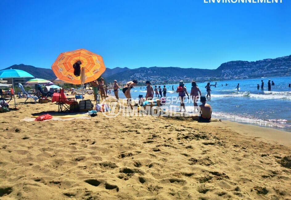 bain de soleil sur la plage de roses sur le sable fin, eaux turquoises