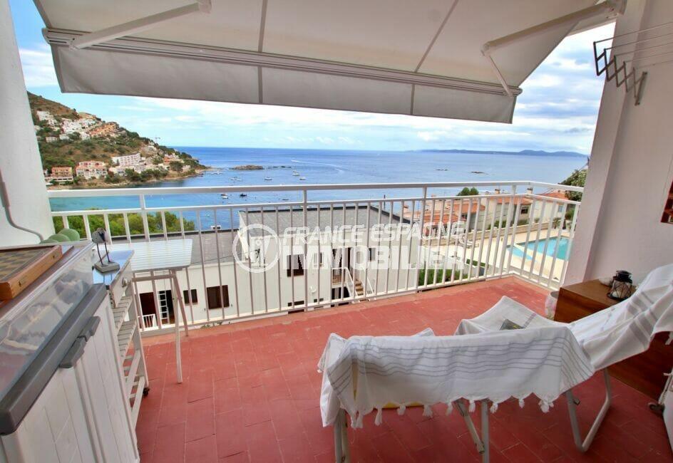 vente appartement rosas, 3 pièces 44 m² avec terrasse aménagée, vue sur la mer