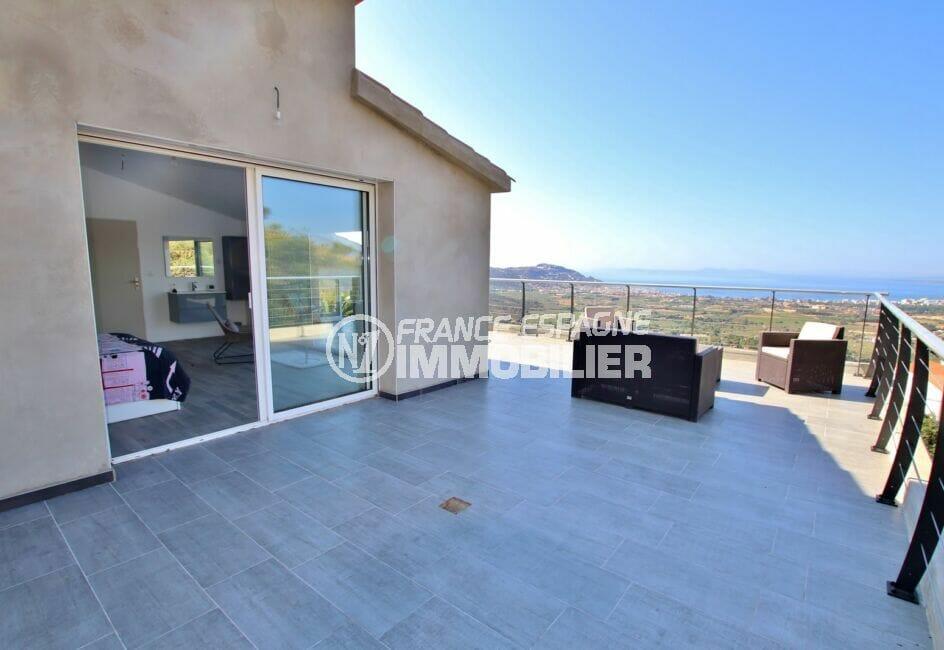 achat villa costa brava,250 m², terrasse de la 1° chambre à coucher