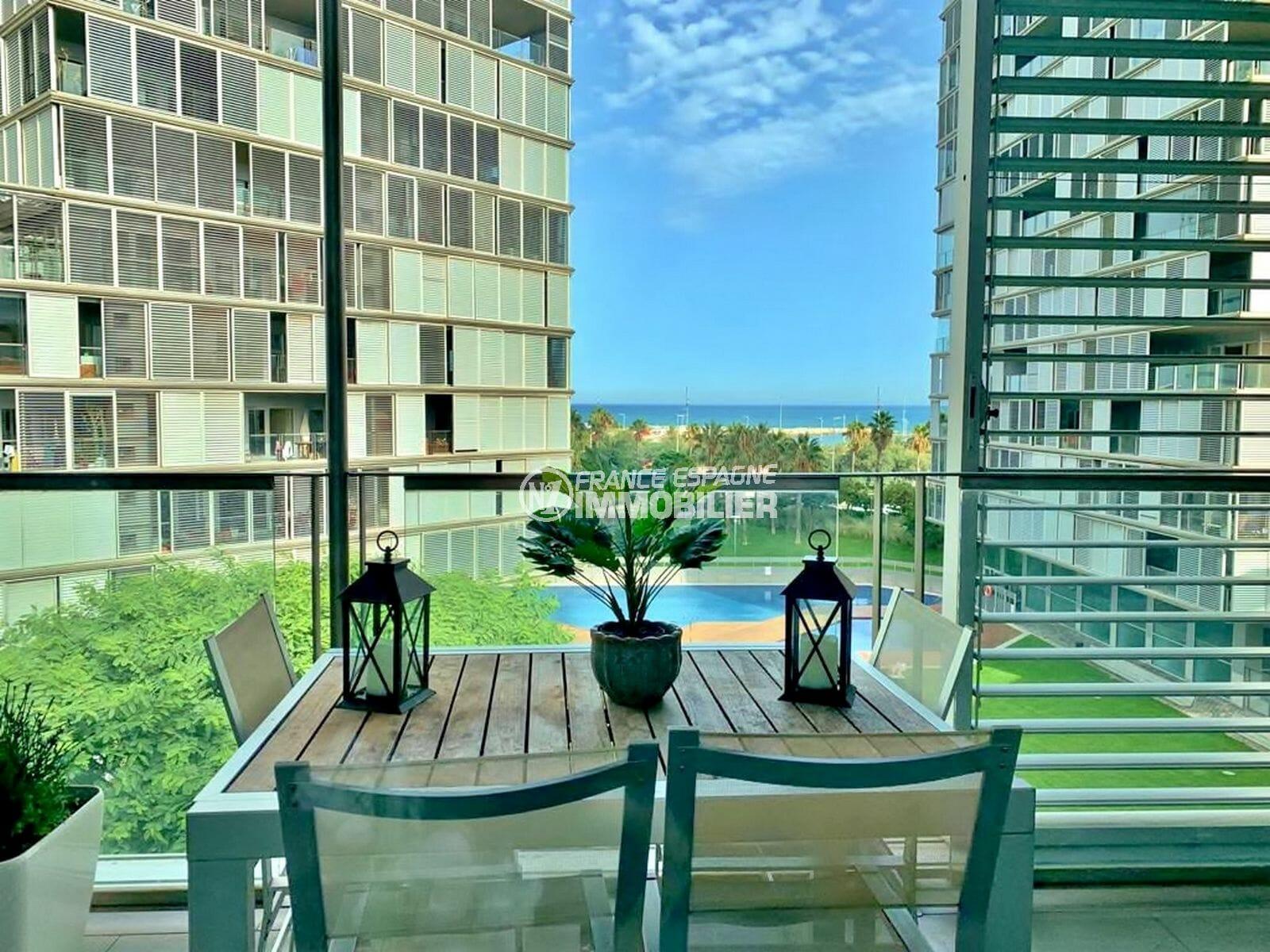 immobilier costa brava vue mer: appartement 160 m² dans résidence luxe à 100 m de la plage de barcelona
